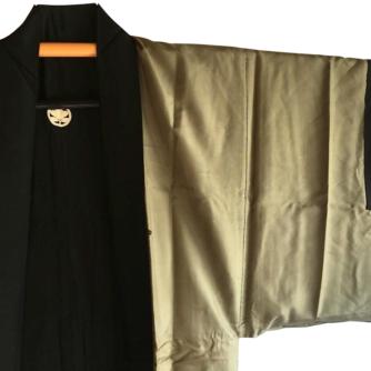 Antique haori samourai sore noire Zen Daruma 5
