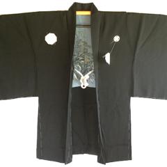 Antique Haori samourai soie noie Takanohane Montsuki Nihon no Yama Kurashi homme
