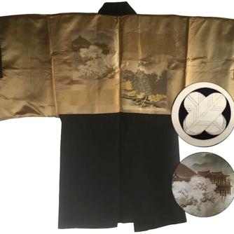 Antique haori samourai soie noire Takanohane montsuki Sakura no Kyomizudera homme Made in Japan