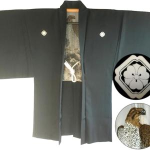 Luxe Antique haori samourai soie noire kenkatabami montsuki L'aigle Washi homme