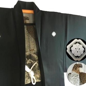 Luxe Antique haori samourai soie noire kenkatabami montsuki L'aigle Washi homme3