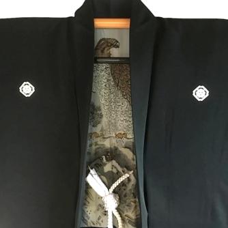 Luxe Antique haori samourai soie noire kenkatabami montsuki L'aigle Washi homme5