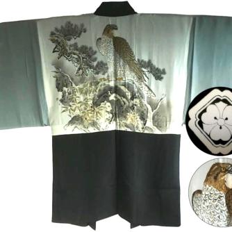 Luxe Antique haori samourai soie noire kenkatabami montsuki L'aigle Washi homme6
