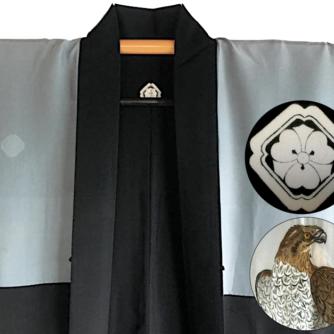 Luxe Antique haori samourai soie noire kenkatabami montsuki L'aigle Washi homme7