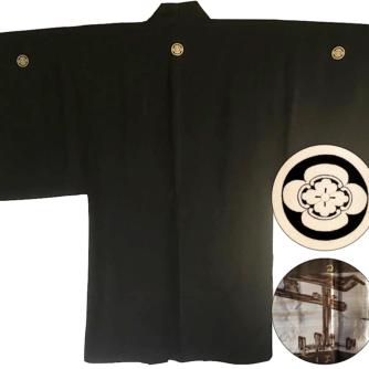 Luxe antique Haori samourai soie noire Maruni Mokkou Montsuki Torii homme 1