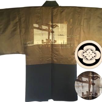 Luxe antique Haori samourai soie noire Maruni Mokkou Montsuki Torii homme 3
