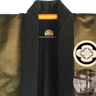Luxe antique Haori samourai soie noire Maruni Mokkou Montsuki Torii homme 4