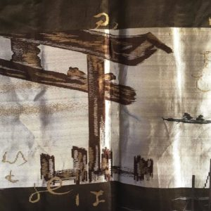 Luxe antique Haori samourai soie noire Maruni Mokkou Montsuki Torii homme