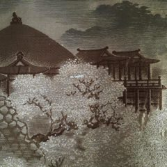 Antique veste kimono haori soie noire Takanohane montsuki Sakura no Kyomizudera homme