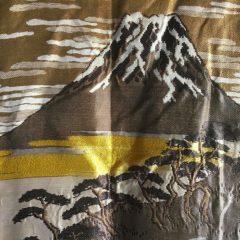 Luxe Antique Kimono Haori soie noire Sagarifuji Montsuki FujiSan Matsu
