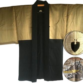 Antique Kimono Haori soie noire Sagarifuji Montsuki FujiSan Matsu 3