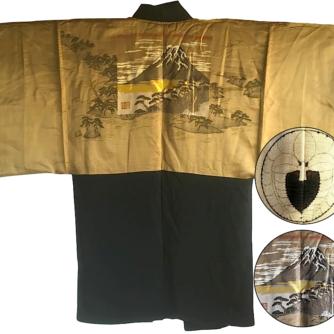 Antique Kimono Haori soie noire Sagarifuji Montsuki FujiSan Matsu 4