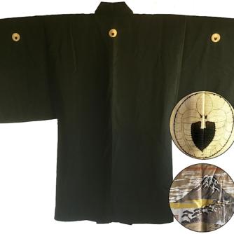 Antique Kimono Haori soie noire Sagarifuji Montsuki FujiSan Matsu1