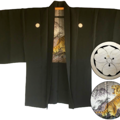 Rare antique kimono Haori samourai soie noire Maruni KenKatabami Montsuki TORA Le tigre