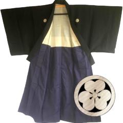 Antique kimono japonais samourai soie noire katabami Montsuki homme