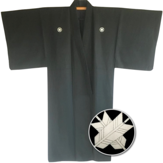 "Antique kimono japonais samourai soie noire Maruni Chigai Ya Montsuki homme ""Made in Japan"""
