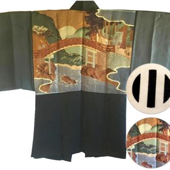 Antique veste kimono Haori samourai soie noire Montsuki JINJA NO O BASHI 1