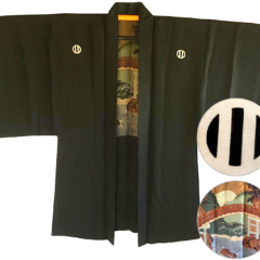 Antique veste kimono Haori samourai soie noire Montsuki JINJA NO O BASHI homme