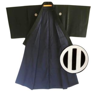 Antique kimono japonais samourai soie noire kamon maruni tate ni biki homme