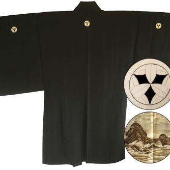 antique_veste_kimono_haori_soie_noire_meoto_iwa_kamon_clan_samourai_takenaka_homme_-22made_in_japan-22_1