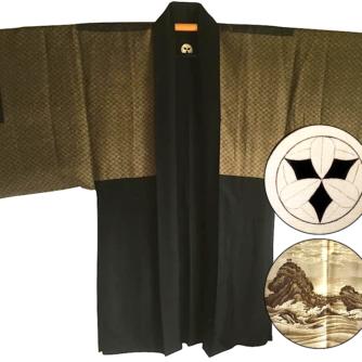 antique_veste_kimono_haori_soie_noire_meoto_iwa_kamon_clan_samourai_takenaka_homme_-22made_in_japan-22_2