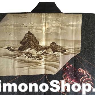 antique_veste_kimono_haori_soie_noire_meoto_iwa_kamon_clan_samourai_takenaka_homme_-22made_in_japan-22_5