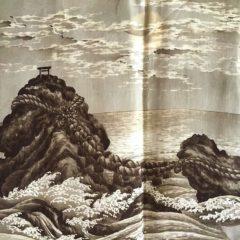 """Antique veste kimono Haori soie noire Meoto Iwa Kamon clan samourai Takenaka homme """"Made in Japan"""""""