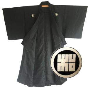 Antique kimono traditionnel japonais samourai soie noire Kamon Rin homme