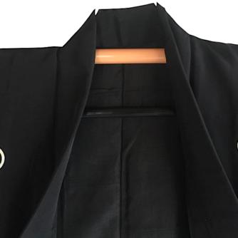 Antique kimono traditionnel japonais samourai soie noire Kamon Rin homme 2