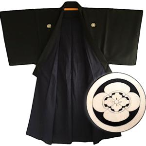 Antique kimono traditionnel japonais samourai soie noire Nobunaga Mokkou Montsuki homme
