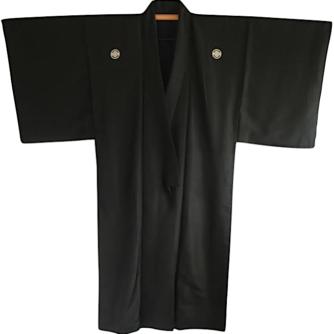 Antique kimono traditionnel japonais samourai soie noire Nobunaga Mokkou Montsuki homme 1