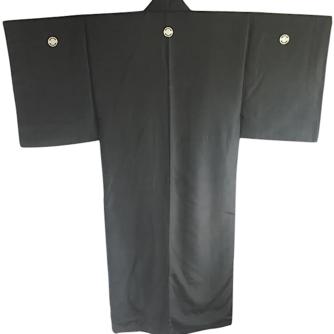 Antique kimono traditionnel japonais samourai soie noire Nobunaga Mokkou Montsuki homme 3