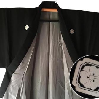 Antique kimono traditionnel japonais soie noire Kamon KenKatabami homme Made in Japan 1