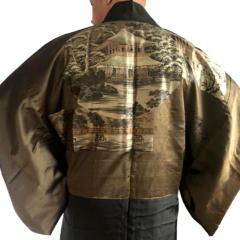 "Antique Haori soie noire Kamon Temple d'argent Ginkakuji homme ""Made in Japan"""